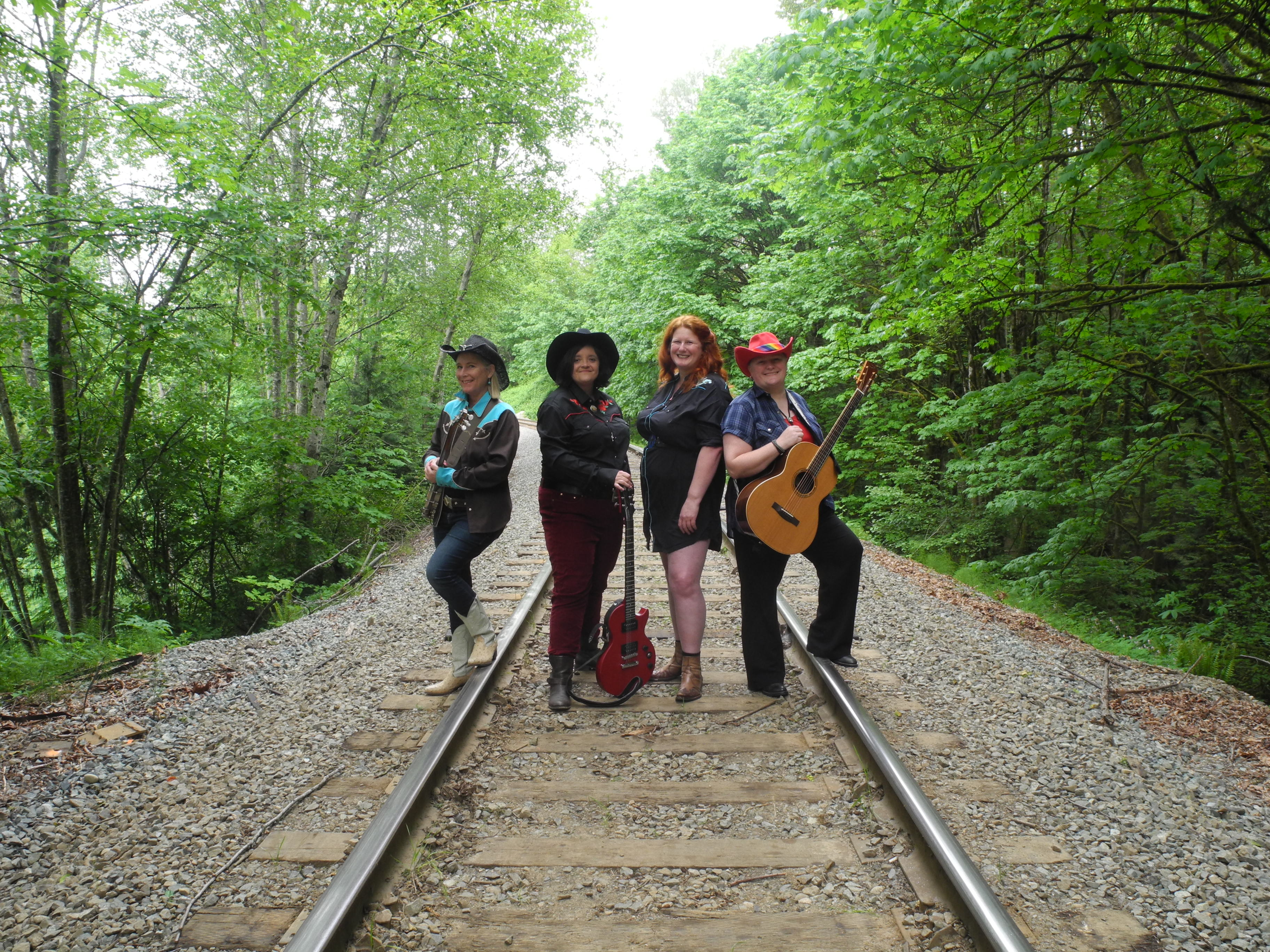 Bushy Park musicians on railway track with bush on either side